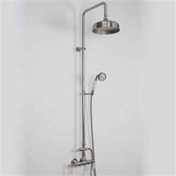 Baths of Distinction's Edwardian Exposed Vintage Wall Shower with Handheld Shower, shown here in Brushed Nickel.
