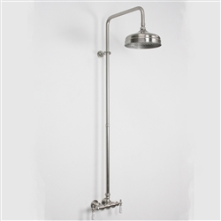 Baths of Distinction's Edwardian Exposed Vintage Wall Shower, shown here in Brushed Nickel.