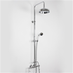 Baths of Distinction's Edwardian Exposed Vintage Wall Shower with Handheld Shower, shown here in Chrome.