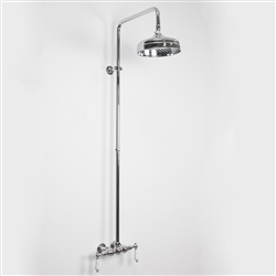 Baths of Distinction's Edwardian Exposed Vintage Wall Shower, shown here in Chrome.