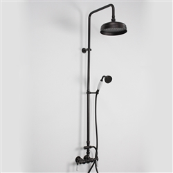 Baths of Distinction's Edwardian Exposed Vintage Wall Shower with Handheld Shower, shown here in Oil Rubbed Bronze.