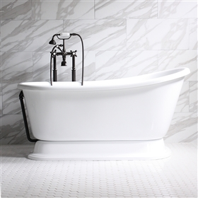 "<br>'CARAFA62' 62"" CoreAcryl Acrylic Swedish Slipper Pedestal Tub and Faucet Package"