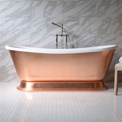 "<br>'CATERINA67' 67"" CoreAcryl WHITE Acrylic French Bateau Pedestal Tub with Copper Leaf Exterior plus Faucet Package"