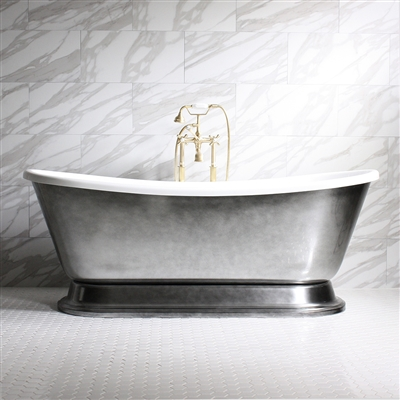 "<br>'CHRISTOFORO73' 73"" CoreAcryl Acrylic Aged Chrome Exterior French Bateau Pedestal Tub and Faucet Package"