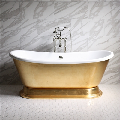 CLEOPATRA59 59in Acrylic White French Bateau Tub