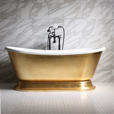 "<br>'CLEOPATRA67' 67"" CoreAcryl WHITE Acrylic French Bateau Pedestal Tub with Umber Wash Egyptian Gold Leaf Exterior plus Faucet Package"