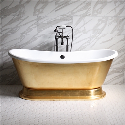 "<br>'CLEOPATRA73' 73"" CoreAcryl WHITE Acrylic French Bateau Pedestal Tub with Umber Wash Egyptian Gold Leaf Exterior plus Faucet Package"