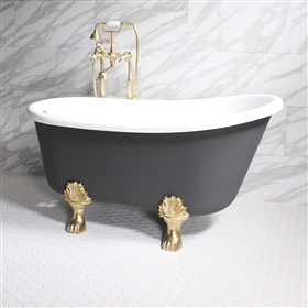 "<br>'COSIMO54' 54"" WHITE CoreAcryl Acrylic Swedish Slipper Clawfoot Tub Package with Iron Effect Exterior"