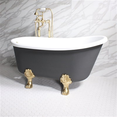 "<br>'COSIMO58' 58"" WHITE CoreAcryl Acrylic Swedish Slipper Clawfoot Tub Package with Iron Effect Exterior"