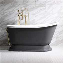 DONATO54 54in White Acrylic Swedish Slipper Tub