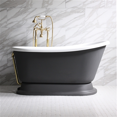 "<br>'DONATO54' 54"" WHITE CoreAcryl Acrylic Swedish Slipper Pedestal Tub Package with Iron Effect Exterior"