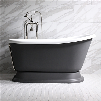 DONATO58 58in White Acrylic Swedish Slipper Tub