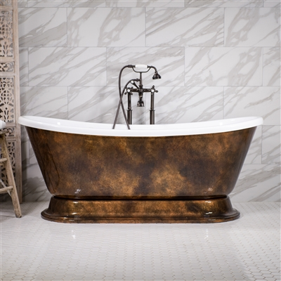 "<br>'DOMENICO-AIR67' 67"" CoreAcryl Acrylic French Bateau Pedestal HOT AIR JETTED Bathtub Package with a Patina Copper Leaf Exterior"