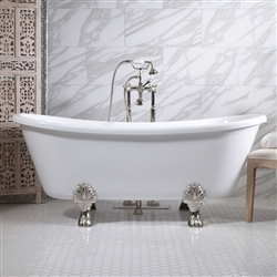 "<br>'FEDERIGO59' 59"" CoreAcryl WHITE Acrylic French Bateau Clawfoot Tub and Faucet Package"
