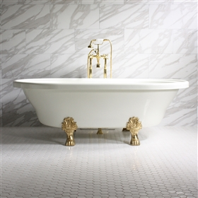 "<br>'FRANCESCA' 73"" Extra Wide WHITE CoreAcryl Acrylic Double Ended Clawfoot Tub and Faucet Package"