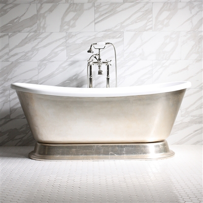 GIANETTA67 67in Acrylic White French Bateau Tub
