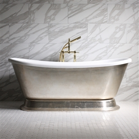 GIANETTA73 73in Acrylic White French Bateau Tub