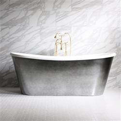 "<br>'Ginevra-Air67' 67"" CoreAcryl WHITE French Bateau HOT AIR JETTED Acrylic Skirted Bathtub Package with an Aged Chrome Finish Exterior"