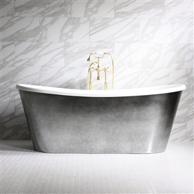 Ginevra 67in Acrylic Chrome French Bateau Tub