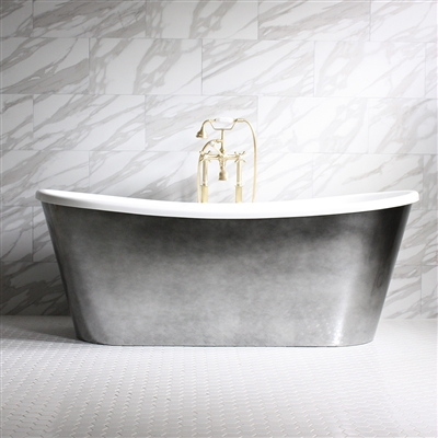 "<br>'GINEVRA67' 67"" CoreAcryl WHITE French Bateau acrylic skirted tub package with Aged Chrome exterior"