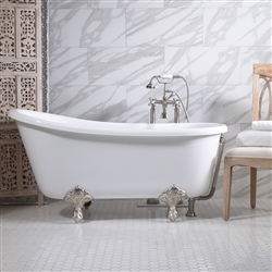 "<br>'GRITTI54' 54"" CoreAcryl WHITE Acrylic Swedish Slipper Clawfoot Tub and Faucet Package"