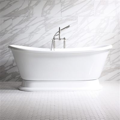 "<br>'ISABETTA' 59"", 67"" & 73"" CoreAcryl WHITE Acrylic French Bateau Pedestal Bathtub with Fittings in Brushed Nickel"