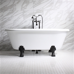 "'ISOTTA' 67"" CoreAcryl WHITE Acrylic Double Ended Clawfoot Tub and Faucet Package"