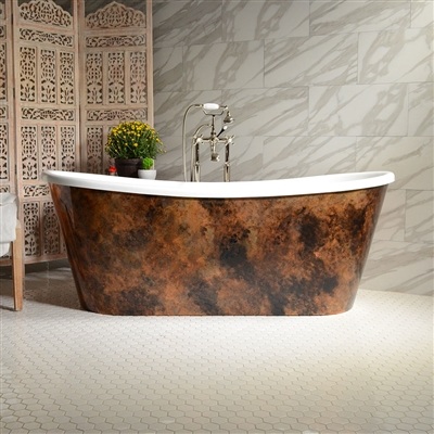 "<br>'Nicolosa-Air67' 67"" CoreAcryl WHITE French Bateau HOT AIR JETTED Acrylic Skirted Bathtub Package with a Patina Copper Leaf Exterior"
