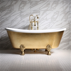 "<br>'RAMESSES59' 59"" CoreAcryl WHITE Acrylic French Bateau Clawfoot Tub with Umber Wash Egyptian Gold Leaf Exterior plus Faucet Package"