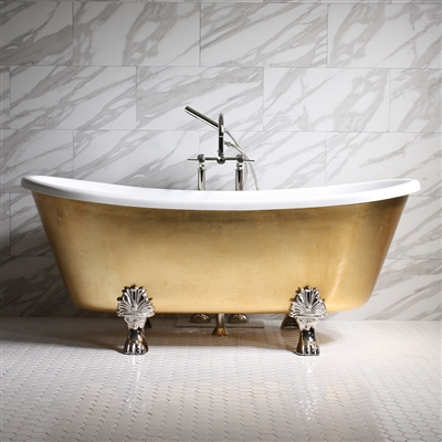 "<br>'RAMESSES73' 73"" CoreAcryl WHITE Acrylic French Bateau Clawfoot Tub with Umber Wash Egyptian Gold Leaf Exterior plus Faucet Package"