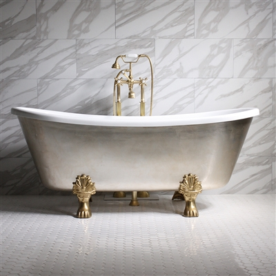 "<br>'SIMONA67' 67"" CoreAcryl WHITE Acrylic French Bateau Clawfoot Tub with Umber Wash Aged Silver Leaf Exterior plus Faucet Package"