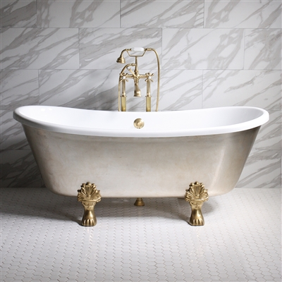 "<br>'SIMONA73' 73"" CoreAcryl WHITE Acrylic French Bateau Clawfoot Tub with Umber Wash Aged Silver Leaf Exterior plus Faucet Package"