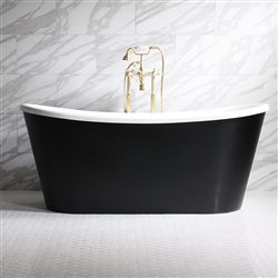 Sorrentino 59in Acrylic Black French Bateau Tub
