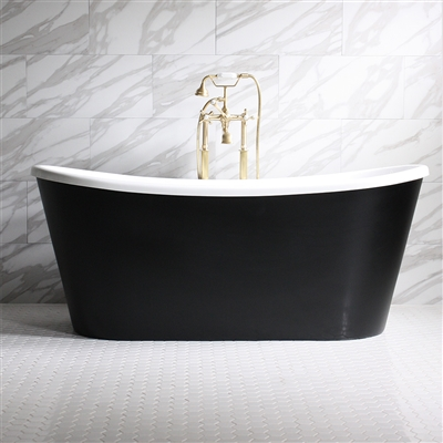 "<br>'SORRENTINO59' 59"" WHITE CoreAcryl Acrylic French Bateau Tub with Eggshell Black Exterior and Faucet Package"