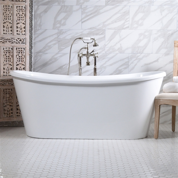 "<br>'VERONA59' 59"" CoreAcryl WHITE French Bateau acrylic skirted tub package"