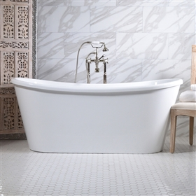 "<br>'VERONA67' 67"" CoreAcryl WHITE French Bateau acrylic skirted tub package"