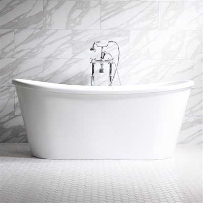 "<br>'Verona-Air73' 73"" CoreAcryl WHITE French Bateau AIR JETTED acrylic skirted tub package"