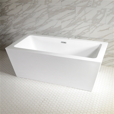 <br>SanSiro 'Asti59CWJ' 59 x 34 inch Center Drain WATER JETTED High Gloss White ACRYLIC Freestanding Bathtub