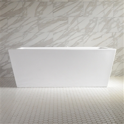 <br>SanSiro 'Asti67CWJ' 67 x 34 inch Center Drain WATER JETTED High Gloss White ACRYLIC Freestanding Bathtub