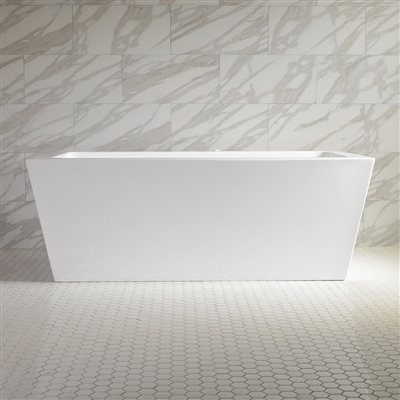 <br>SanSiro 'Asti67EWJ' 67 x 34 inch End Drain WATER JETTED High Gloss White ACRYLIC Freestanding Bathtub