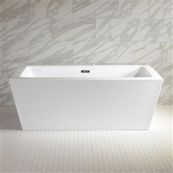<br>SanSiro 'Asti73CWJ' 73 x 34 inch Center Drain WATER JETTED High Gloss White ACRYLIC Freestanding Bathtub