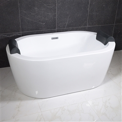 <br>SanSiro 'Augusta59CHS' 59 x 35 inch Center Drain HYDRO-SPA Water and Air Jetted High Gloss White ACRYLIC Freestanding Bathtub