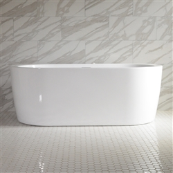 <br>SanSiro 'Augusta67CAJ' 67 x 35 inch Center Drain HOT AIR JETTED High Gloss White ACRYLIC Freestanding Bathtub