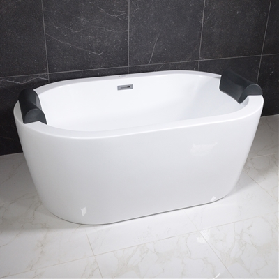 <br>SanSiro 'Augusta67CHS' 67 x 35 inch Center Drain HYDRO-SPA Water and Air Jetted High Gloss White ACRYLIC Freestanding Bathtub