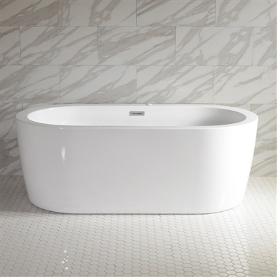 <br>SanSiro 'Augusta59CWJ' 59 x 35 inch Center Drain WATER JETTED High Gloss White ACRYLIC Freestanding Bathtub