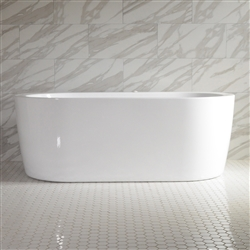 <br>SanSiro 'Augusta59EWJ' 59 x 35 inch End Drain WATER JETTED High Gloss White ACRYLIC Freestanding Bathtub