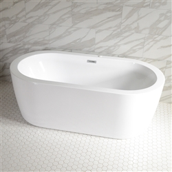 <br>SanSiro 'Augusta71CWJ' 71 x 35 inch Center Drain WATER JETTED High Gloss White ACRYLIC Freestanding Bathtub