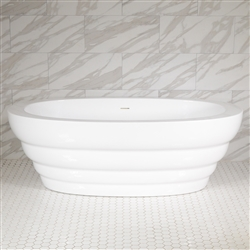 <br>SanSiro 'Cosmos67CAJ' 67 x 36 inch Center Drain HOT AIR JETTED High Gloss White ACRYLIC Freestanding Bathtub