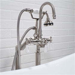 Edwardian Rigid Freestanding Tub Filler in Brushed Nickel
