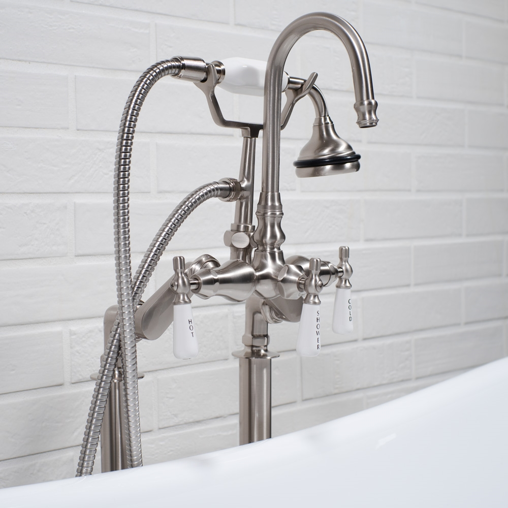 Edwardian Rigid Freestanding Tub Filler Brushed Nickel